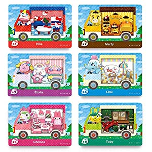 6PCS Animal Crossing Sanrio NFC Tag Card, RV Villager Furniture Compatible for Switch/Switch Lite/ Wii U/New 3DS, with Crystal Case