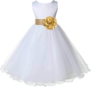 f7b6eb75332 ekidsbridal Wedding Pageant White Flower Girl Rattail Edge Tulle Dress 829s
