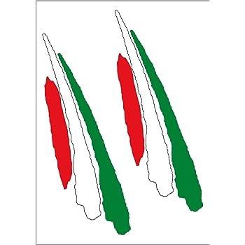 A Forma di Cuore Effetto Fibra di Carbonio Metallo Lacerato Strappato Squarcio Modello /& Italia Italiano il Bandiera Tricolore Vinile Adesivo per Auto 105x100mm