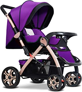 DYFAR High Landscape Toddlers 2 in 1 from Birth Newborn Pushchairs Baby Strollers fold Two Way with Cup Holder and Meal Plate, Purple