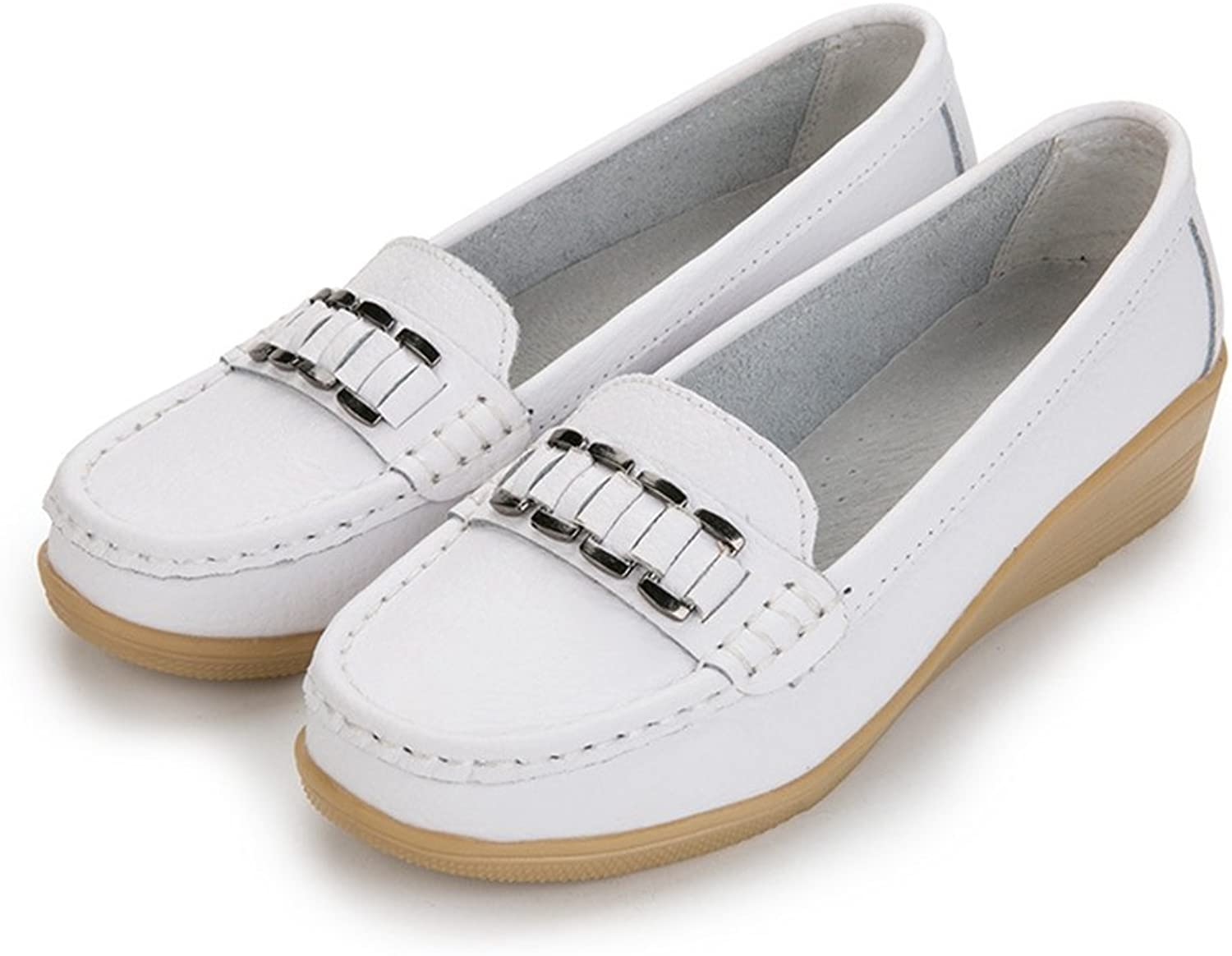 T-JULY Women's Loafers shoes Fashion Round Toe Casual Low Wedge Non-Slip Moccasin