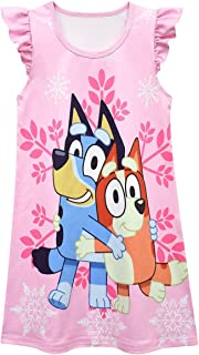 Yowhdae Girl Casual Dress Flutter Sleeve Cartoon Playwear Dress 2-7Y