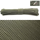 PSKOOK Survival Paracord Parachute Fire Cord Survival Ropes Red Tinder Cord PE Fishing Line Cotton Thread 7 Strands Outdoor 20, 25, 100 Feet (Army Green, 100)