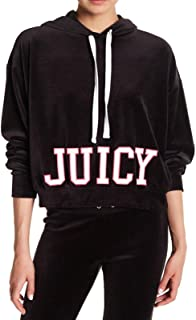 Juicy Couture Women's Velour Cropped Hoodie Jacket with Cut Off Varsity Logo (Black, Medium, M)