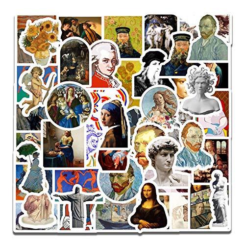 BLOUR 50 Stück Berühmte Künstler Ölgemälde Mona Lisa Aufkleber für DIY Laptop Scrapbooking Graffiti Tagebuch Etikett Briefpapier Dekor Aufkleber
