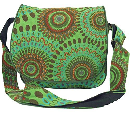 GURU SHOP Schultertasche, Hippie Tasche, Goa Tasche - Grün, Herren/Damen, Baumwolle, Size:One Size, 22x23x6 cm, Alternative Umhängetasche, Handtasche aus Stoff