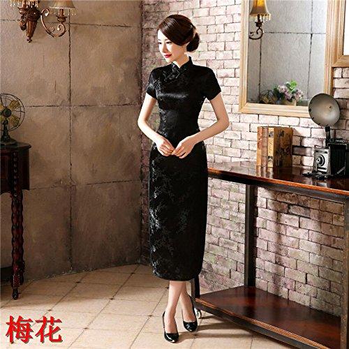 GUYIVVU Dress,Cheongsam Burgundy Vintage Chinese Women's Satin Cheongsam Long Dress Qipao Mujeres Vestido Plus Size S M L XL XXL XXXL 4XL 5XL 6XL,Black,S