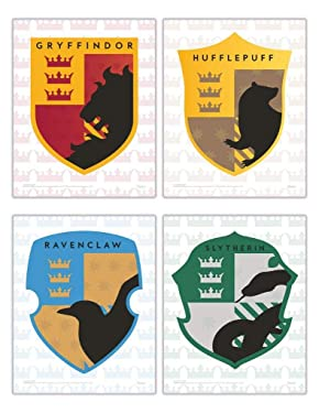 TRENDYPRINT Harry Potter – Hogwarts Crests – Gryffindor Hufflepuff Slytherin Ravenclaw Wall Art – UNFRAMED Set of 4 – Perfect for Gifting or Collecting