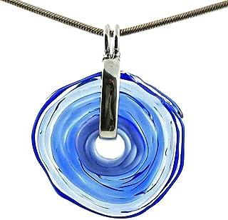 Collar en azul con colgante de cristal de murano | Joya intercambiable | Pieza único hecho a mano | Regalo para Aniversari...