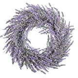 Famibay 17' Artificial Lavender Wreath for Front Door Fake Lavender Wreath Floral Door Wreath All Seasons Wall Window Wedding Party Décor (1PC, Lavender)