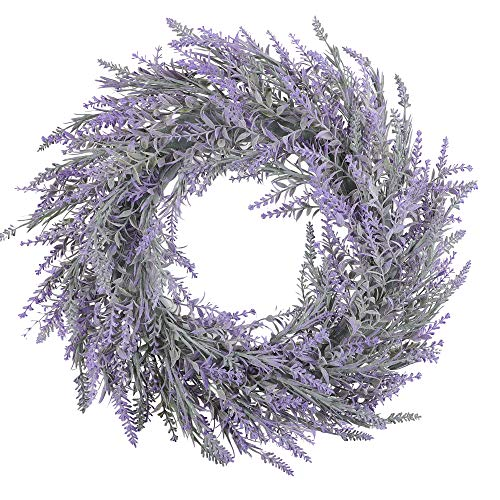 Famibay Künstlich Kränz Lavendel Blumenkranz Kunstkranz Natur Haustür Kranz Landhaus Türkränz für Hängen Wand Fenster Hochzeit Party Drinnen Draußen Deko(Lavendel, 1)