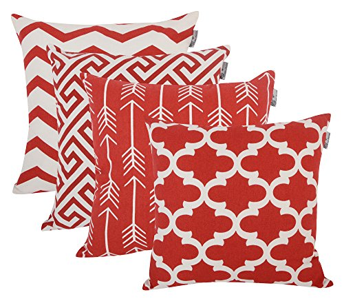 "Accent Home Cotton Canvas Throw Cushion Cover Printed Both Side For Home Sofa Couch, Chair Back Seat,4pc pack 18x18"" in Color Red"