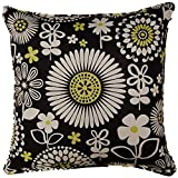 Dakotah Corded Floral Way Pillow, 17 by 17-Inch, Domino, Set of 2