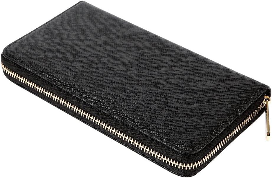 Men's RFID Blocking Leather Card Holder Long Large Zipper Organizer Wallet, Long-Black-27 Slots