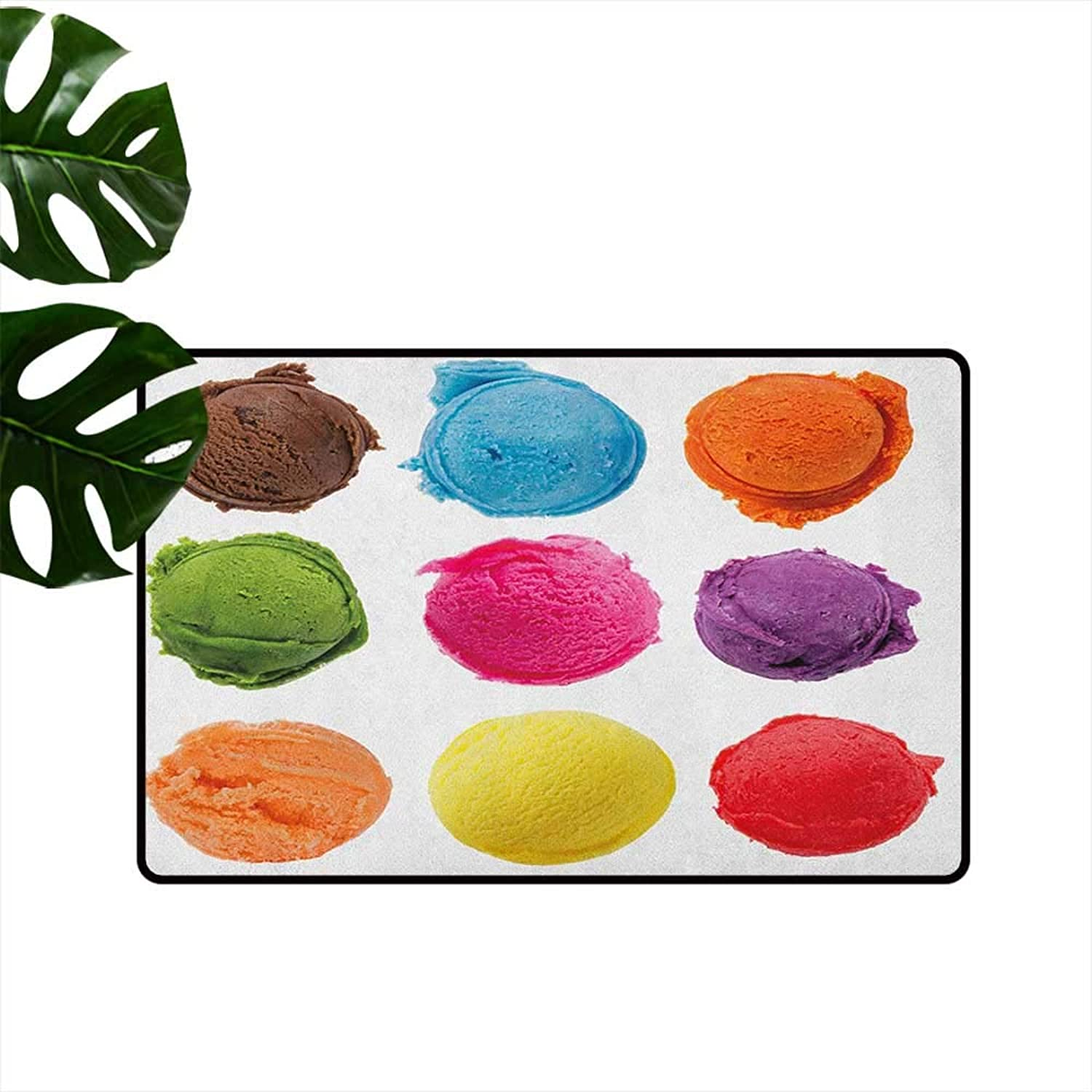 Ice Cream Entrance Door mat Ice Cream Toppings with colorful Various Flavor Yummy Sweet Summer Season Image Hard and wear Resistant W29 x L39 Multicolor