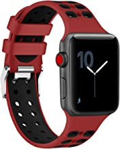 EloBeth Watch Bands Compatible with Apple Watch Band 44mm 42mm Series 5 4 3 2 1 iWatch Sport Silicone Band (42mm/44mm, Red)