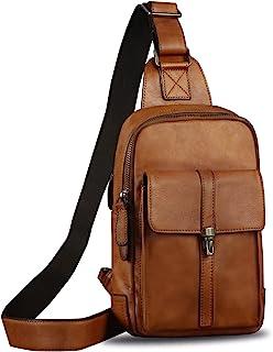 حقيبة كتف من الجلد الطبيعي حقيبة ظهر كاجوال للمشي لمسافات طويلة مصنوعة يدويًا بنمط كروسبودي حقيبة ظهر كلاسيكية للصدر