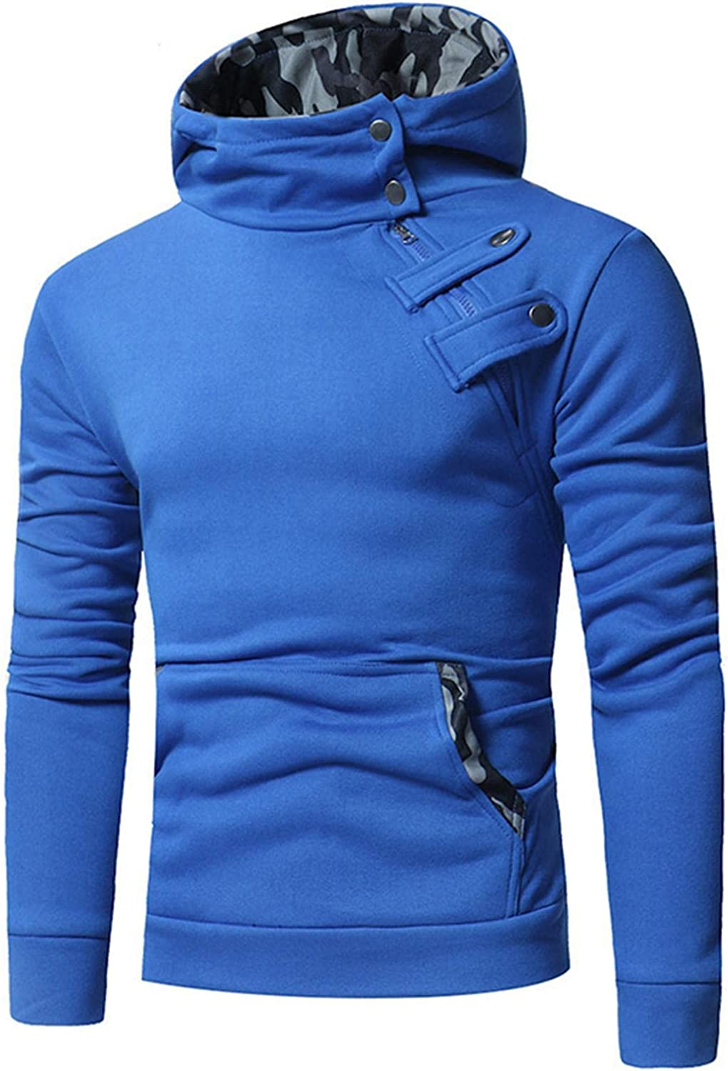 Qsctys Mens Sweatshirts - Slim Fit Crewneck Long Sleeve Men'sFashion Hoodies Solid Color Casual Pullover Hooded with Pocket