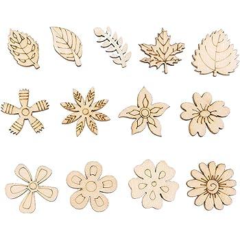 DIY Wood Chips Mixed Floret Leaves Shape DIY Crafts Scrapbooking Decor KV