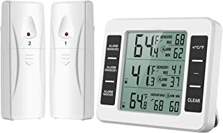 KeeKit Refrigerator Thermometer, Digital Freezer Thermometer with 2 Wireless Sensors, Indoor Outdoor Fridge Temperature Monitor with Audible Alarm, Min/Max Record, ℃/℉ Switchable for Home, Kitchen