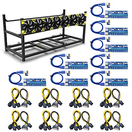 Mining Rig Frame, 8 GPU Steel Open Air Miner Mining Frame Rig Case for Crypto Coin Currency Bitcoin Mining Accessories Tools with 7 Fans,8 Packs PCI-E Riser Adapter Card(8V3C-8Adapter)