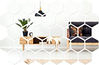 32 Pieces Removable Acrylic Mirror Setting Wall Sticker Decal for Home Living Room Bedroom Decor...