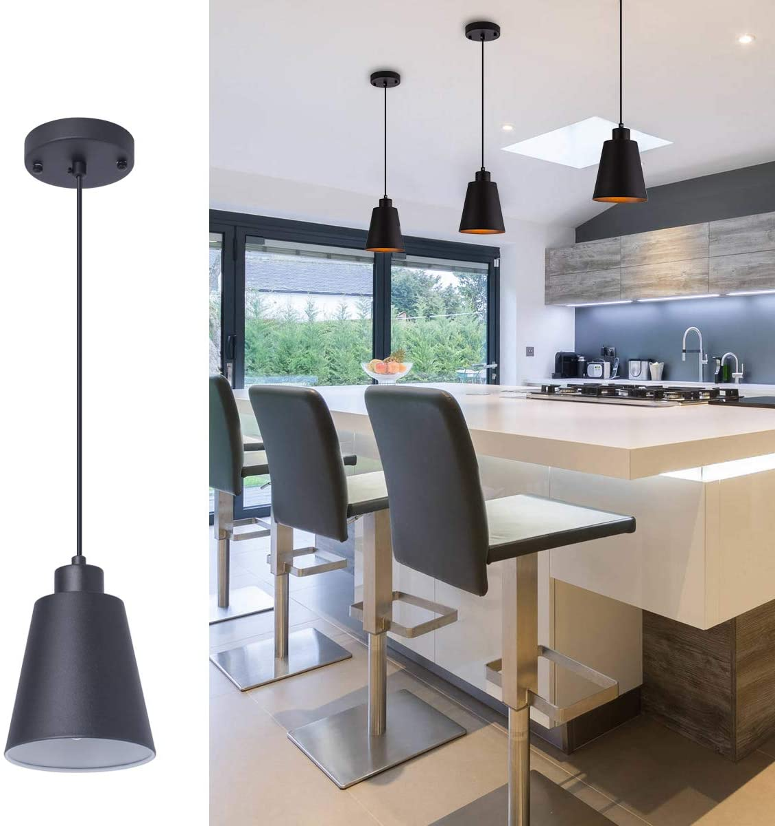 Black Pendant Light Kitchen Island Pendant Lighting with 9.9in Metal Shade  Modern Hanging Light for Kitchen Small Pendant Light Fixture for Dining ...