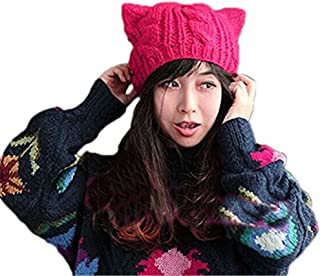 ALLDECOR Handmade Knitted Pussy Cat Ear Beanie Hat for Women's March Winter Warm Cap