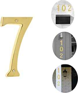 Bebarley 4 Inch Premium Bright Solid Brass Door House Numbers and Street Address Plaques Numbers for Residence and Mailbox Signs. (Number 7)
