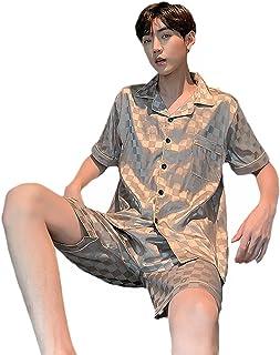 YZJYB Satin Pyjamas for Men Adults Silk Dressing Gown Set Short Sleeve Top And Bottom Silky Sleepwear Summer Thin Luxury S...