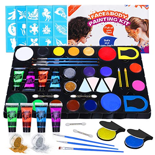 Face Paint Gift Kit for Kids, 22 Colors -16 Face Paints + 4 Tube UV Glow Body Face Paint and so on, 30 Reusable Stencils, Great for Party Makeup, Face Painting, Gift for Kids, Christmas & New Year