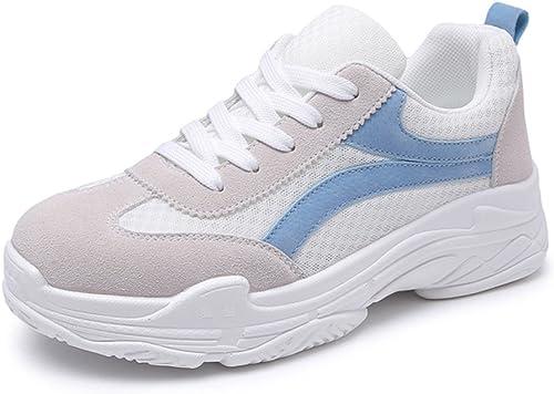 SHI Hauszapatos de Deporte Casuales - Hauszapatos de Deporte Transpirables para mujer Hauszapatos de Deporte con Cordones 8cm (Color   azul, Tamaño   40)