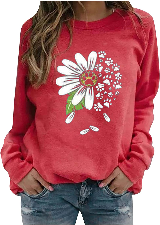 Womens Crewneck Sweatshirt Floral Printed Tees Long Sleeve Trendy Tunic Business Casual Tshirts