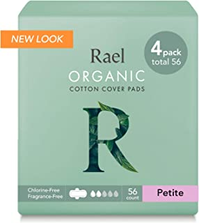 Rael Organic Cotton Sanitary Pads - Petite Size, Light Absorbency, Unscented, Ultra Thin Pads for Women, Perfect for Teens (56 Total)