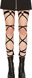 Women's Sexy Elastic Gothic Leather Shiny Metallic Leg Wrap for Rave Dancing Music Festivals Costume Club wear