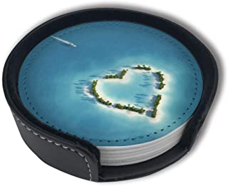 Yacht Heading To Heart Shaped Island Coasters For Drinks Set Of 6 With Holder