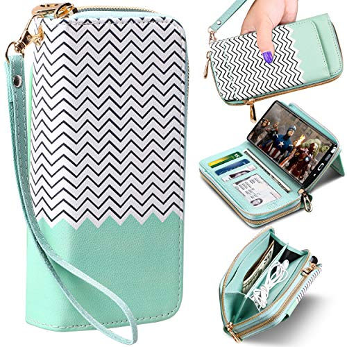 E LV Wallet Purse Case Designed for Samsung Galaxy Note 10 Plus/Galaxy Note 10 Plus Pro 5G Case PU Leather Folio Flip Case with Credit Card Slots, Detachable Case and Back Stand (Mint Green)
