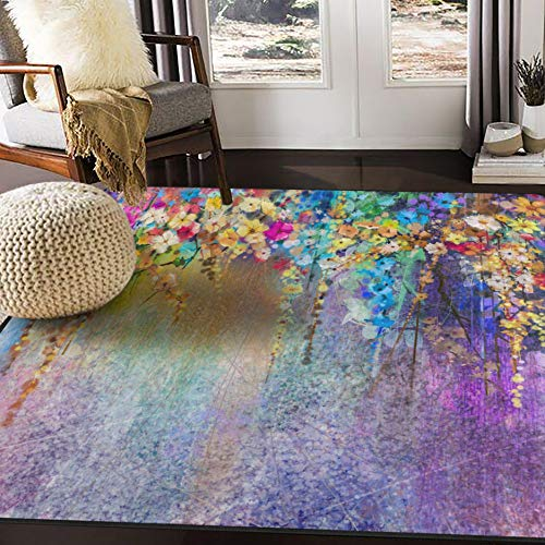 ALAZA Watercolor Painting Abstract Floral Area Rug for Living Room Bedroom 5'3'x4'