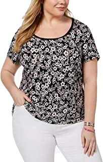 TOMMY HILFIGER Plus Size Printed Openwork-Trim Top, Multi (White/Pink/Black), 3X