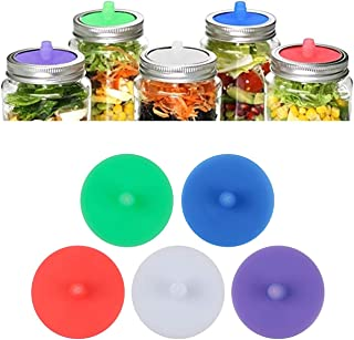Silicone Fermenting Lids, Waterless Airlock Fermentation Mason Jar Lids Silicone Airlock Lids, Kimchi, Pickles, and Fermen...