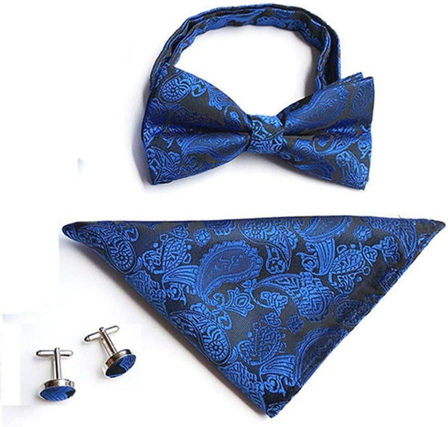 Men Paisley Pre-Tied Tuxedo Bow Tie Cufflinks Handkerchiefs Pocket Square Set Color: Royal Blue