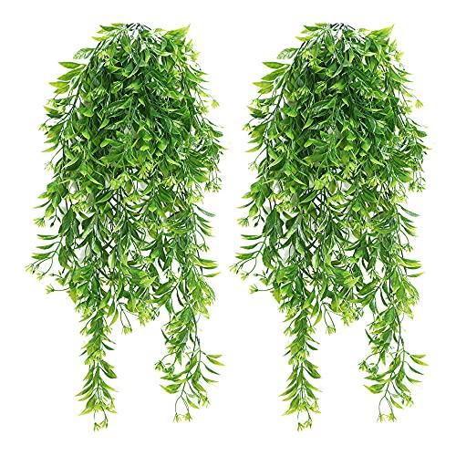 PLCatis 2 Piezas Plantas Colgantes Artificiales Realistas 78 cm Planta Plástico Colgante Planta de...