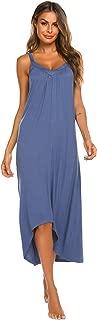 Womens Sleeveless Long Nightgown Summer Slip Night Dress Cotton Sleepshirt Chemise