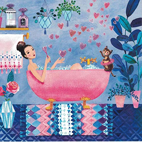 Mila Marquis Postkarte 140x140mm ~ Frau in Badewanne