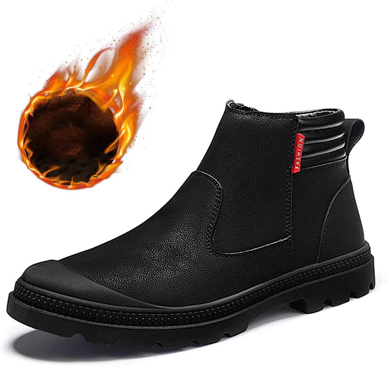 Men's shoes Men's Boots, PU(Polyurethane) Fall Winter Cotton shoes Slip On Fashion Boots Plus Velvet Snow Boots Men's Fashion Boots (color   B)