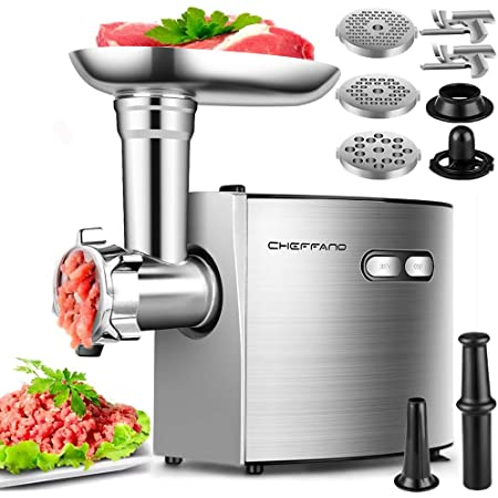 Electric Meat Grinder, CHEFFANO Stainless Steel Meat Mincer Sausage Stuffer, 2600W Max ETL Approved Meat Grinder Machine with 3 Grinding Plates, 2 Blades, Sausage Kubbe Kit Sets, Home Kitchen Use