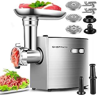 Picadora eléctrica de carne, picadora de carne de acero inoxidable CHEFFANO, 2600 W máx. ETL aprobada por 3 placas de moli...