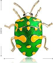 XZROOKEI Enamel Green Insect Brooch Gold-color Vivid Yellow Spot Beetle Hijab Pins Women Kid Corsage Cute Animal