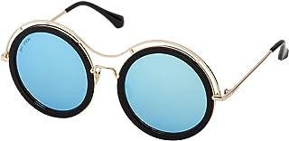 Sky Vision Panto Sunglasses for Women, Blue Lens, 48906