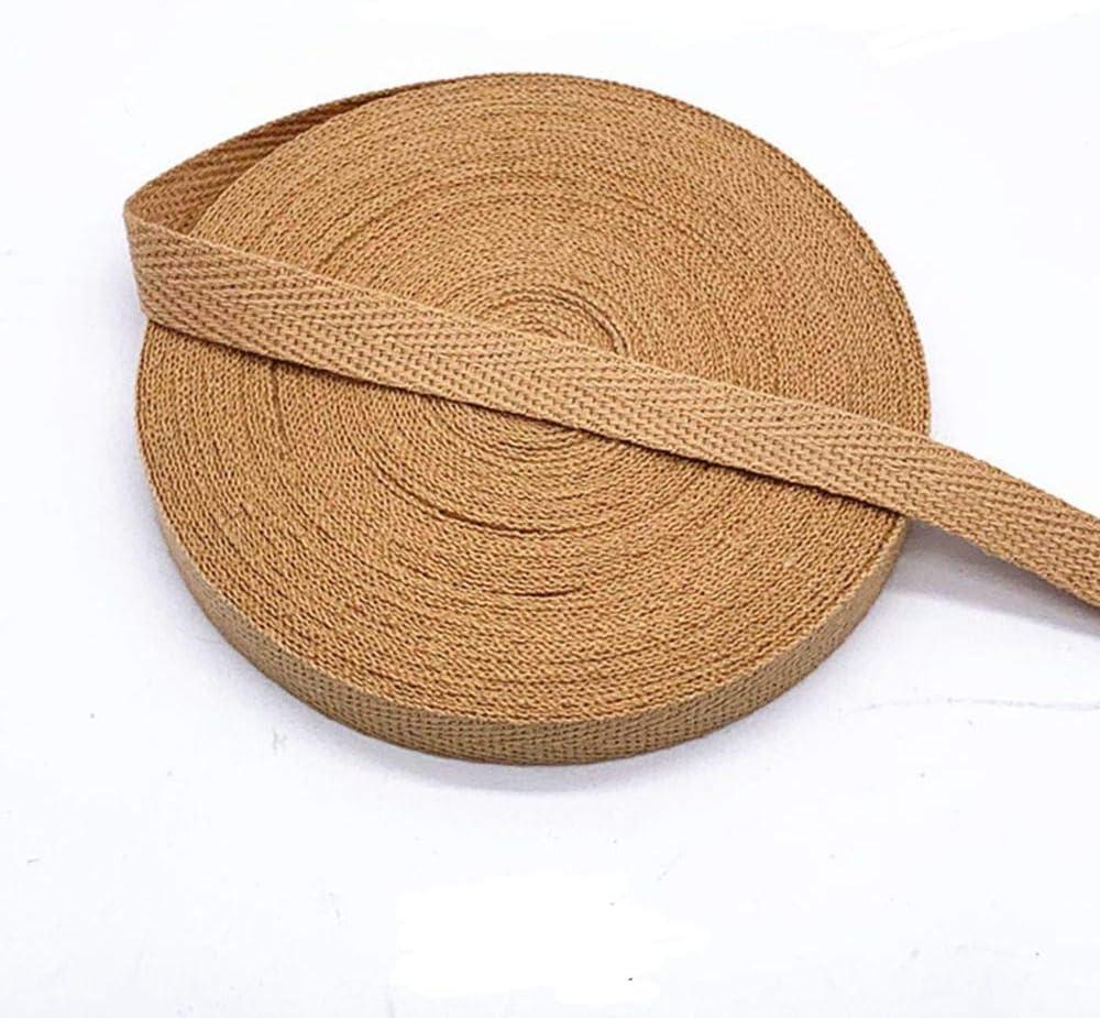 MoonyLI DIY Cotton Webbing 10mm Belting Webbing Twill Tape Ribbon Herringbone Tape Twill Cotton Tape Bias Twill Apron Sewing Tape 45 Yard